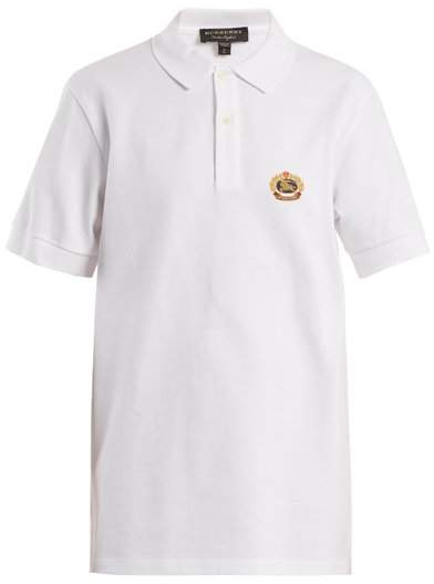 Burberry Unisex Crest Embroidered Cotton Pique Polo Shirt - Womens - White