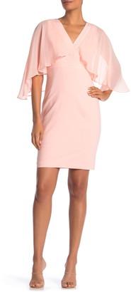 Marina Surplice Cape Sleeve Sheath Dress