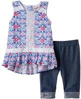 Little Lass Baby Girl Floral Gauze Tunic & Capri Jeggings Set