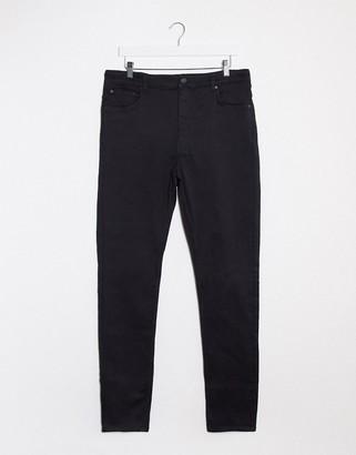 Weekday high waist skinny jeans in satin black