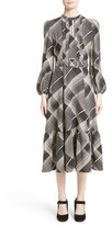 Co Women's Plaid Hammered Silk Midi Dress