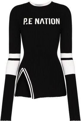 P.E Nation Run logo-print knitted jumper