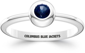 The Sporn Company Columbus Blue Jackets Engraved Sterling Silver Sapphire Ring