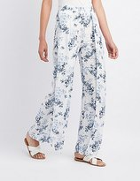 Charlotte Russe Floral Gauze Palazzo Pants