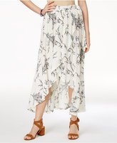 One Hart Juniors' Printed Faux-Wrap High-Low Skirt, Created for Macy's