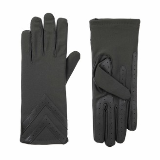 Isotoner Women's Spandex Touchscreen Cold Weather Gloves with Warm Fleece Lining and Chevron Details smartDRI Charcoal Large/X-Large