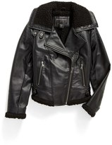 Bernardo Faux Leather Moto Jacket (Big Girls)