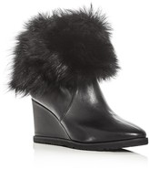 Taryn Rose Women's Massima Leather and Shearling Cuff Wedge Booties