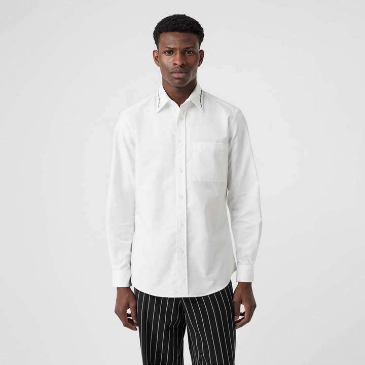 Burberry Classic Fit Embroidered Cotton Poplin Dress Shirt