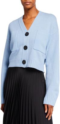 Proenza Schouler Solid Cropped Cashmere Cardigan