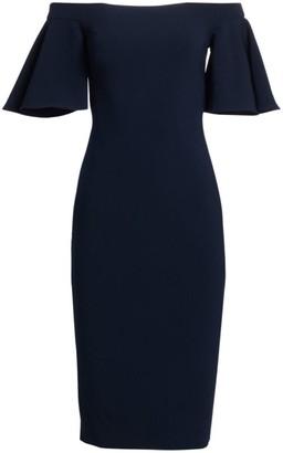 Theia Off-The-Shoulder Crepe Midi Dress