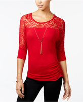 Amy Byer Juniors' Ruched Lace Necklace Top