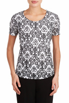 TanJay Tan Jay Black Scroll Top
