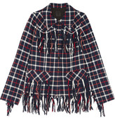 Anna Sui Fringed Checked Cotton Jacket