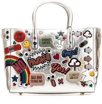 Anya Hindmarch All Over Embroidered Stickers Shopping Bag