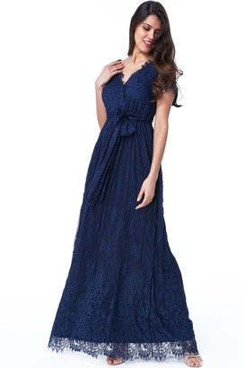 Goddiva Navy Scalloped Hem Lace Maxi Dress