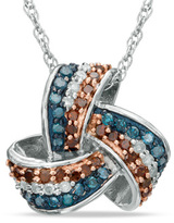 Zales 1/3 CT. T.W. Enhanced Red, Blue and White Diamond Love Knot Pendant in Sterling Silver