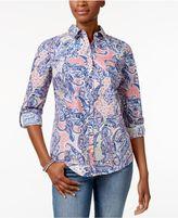 Charter Club Petite Cotton Paisley-Print Shirt, Created for Macy's