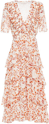Maje Romina Tiered Floral-print Chiffon Midi Dress