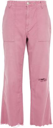 Rag & Bone Cropped Distressed Cotton Straight-leg Pants