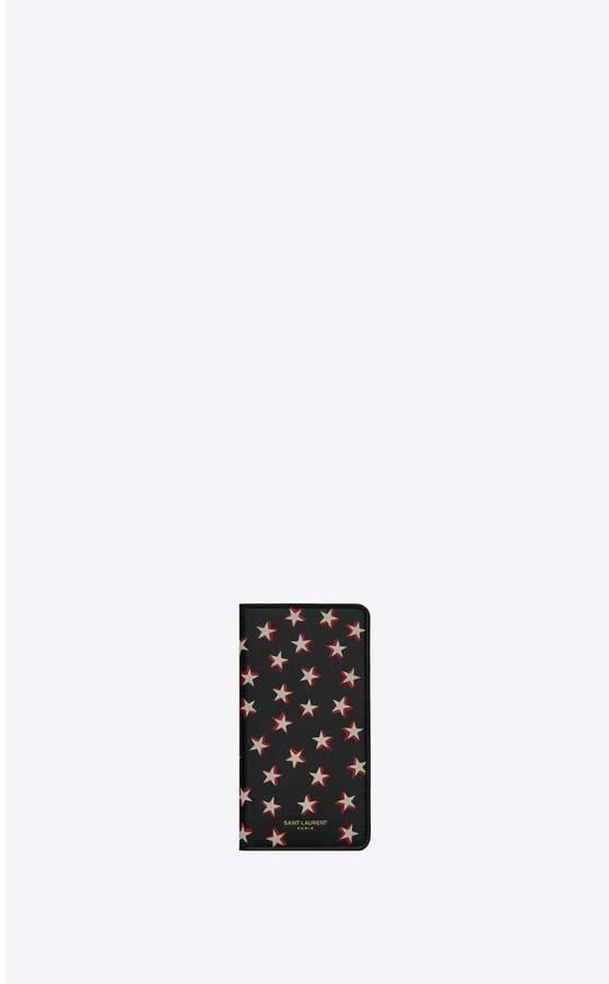 Saint Laurent Iphone X Case In Star-Print Leather