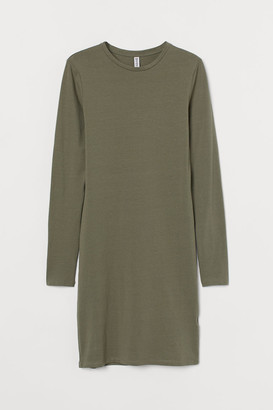 H&M Long-sleeved Bodycon Dress - Green