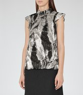 Reiss Andi - Textured Printed Top in Black, Womens