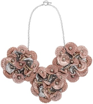 Manley Leather Embellished Sian Necklace - Pink & Silver