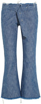 Marques Almeida Marques' Almeida Belted frayed mid-rise bootcut jeans