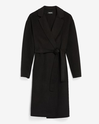 Express Belted Wrap Front Wool Coat