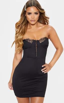 PrettyLittleThing Petite Black Corset Lace Bandeau Mini Dress