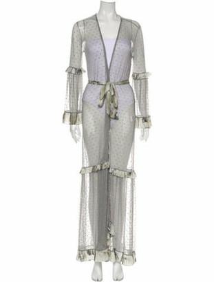 Agua De Coco Polka Dot Print Long Dress w/ Tags Grey