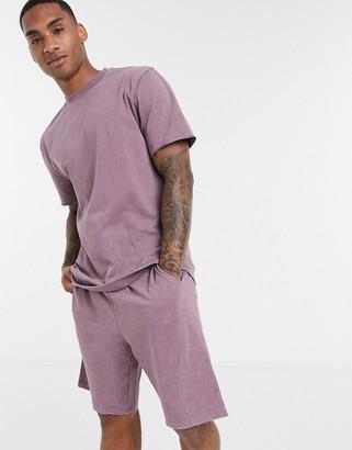 ASOS DESIGN lounge t-shirt and short pyjama set in washed purple