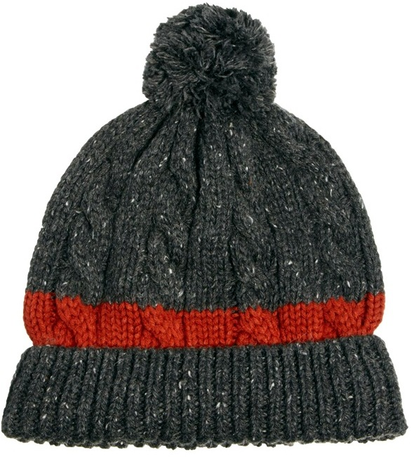 Asos Cable Bobble Beanie Hat with Block Stripe