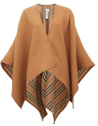 Burberry Heritage Icon Stripe Reverse Wool Poncho - Womens - Beige Multi