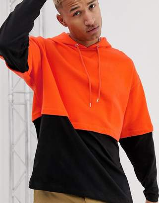 Asos Design DESIGN oversized hoodie with double layer sleeve and hem in orange