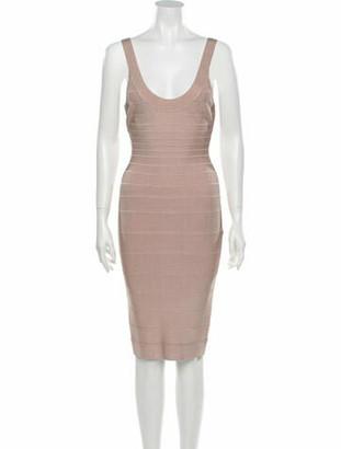 Herve Leger Scoop Neck Knee-Length Dress Pink