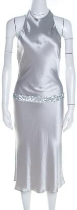 Vera Wang Grey Satin Sequin Embellished Halter Tie Up Flared Dress M