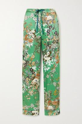 MENG Floral-print Silk-satin Pajama Pants - Green