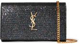 Saint Laurent Monogramme Glittered Canvas Shoulder Bag - Black