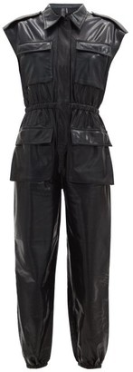 Norma Kamali Patch-pocket High-shine Jumpsuit - Black