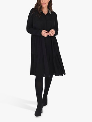 Live Unlimited Curve Satin Trim Collar Dress, Black