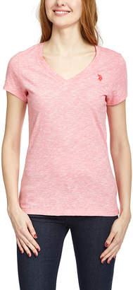 U.S. Polo Assn. Women's Tee Shirts SUCR - Coral Static Stripe V-Neck Tee - Women