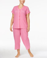 Charter Club Plus Size Loop-Trimmed Top and Cropped Pants Printed Pajama Set, Only at Macy's