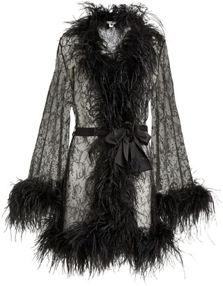 Gilda and Pearl Lace Feather-Trim Robe
