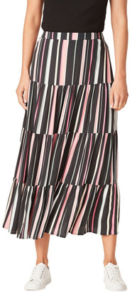 French Connection Rainbow Stripe Tiered Skirt Black