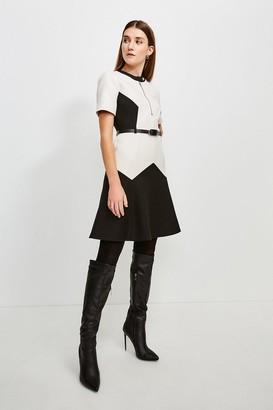 Karen Millen Clean Compact Colourblock Flippy Belted Dress