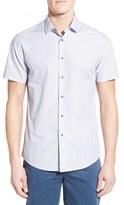 Vince Camuto Men's Slim Fit Short Sleeve Dobby Stripe Sport Shirt