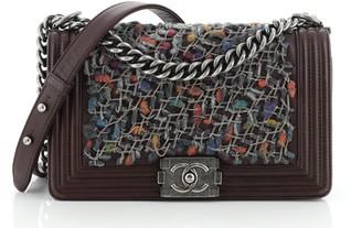 Chanel Boy Flap Bag Braided Tweed Old Medium