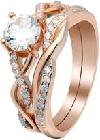 Queena Over Sterling Engagement and Wedding Band Ring Set - Ginger Lyne Collection